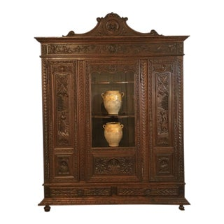 Antique French Country Carved Dark Oak Breton Brittany Bookcase Cabinet Wardrobe For Sale