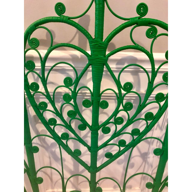 Boho Chic Vintage Boho Chic Wicker Emerald Green Twin Headboards - a Pair For Sale - Image 3 of 10