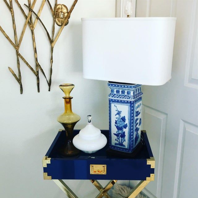 1950s Blue & White Porcelain Vase Lamp - Image 2 of 9
