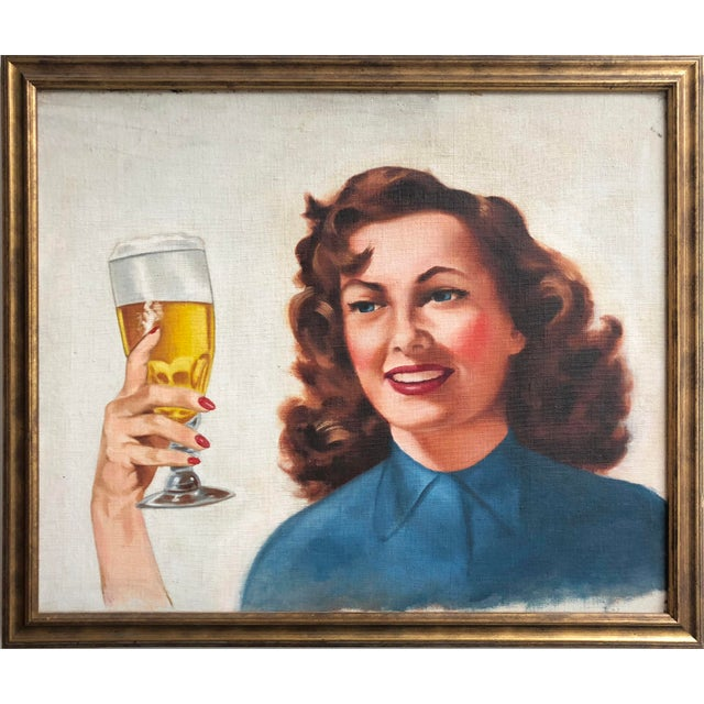 Vintage Circa 1950's illustrator painting of a woman with a beer with a fantastic, retro pin up quality. Great americana...