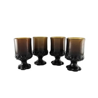 1970s Tiffin Franciscan Madeira Smoke Brown Water Glasses - Set of 4 For Sale