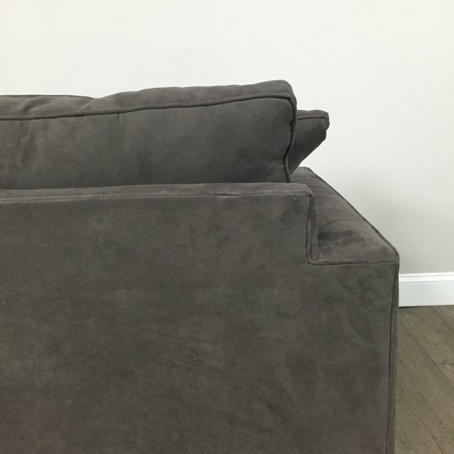 Room & Board Charcoal Suede Loveseat - Image 10 of 11