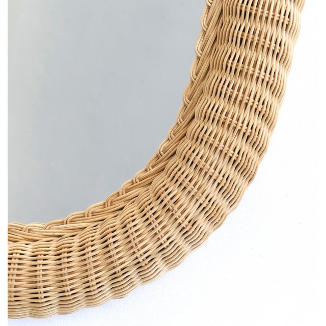 Contemporary Overscale Vintage Elongated Woven Wicker Wall Mirror For Sale - Image 3 of 7