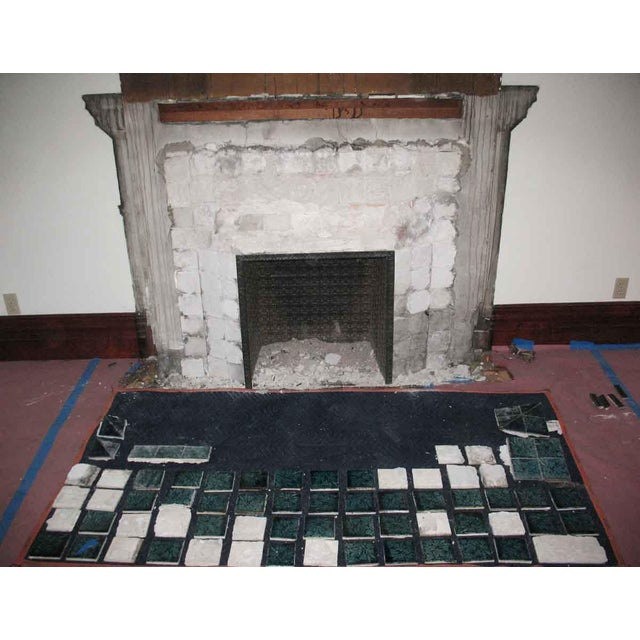 Brown Carved Mahogany & Tile Mantel For Sale - Image 8 of 10