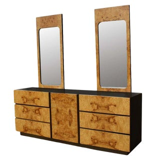 Burled Olivewood Dresser With Two Mirrors For Sale