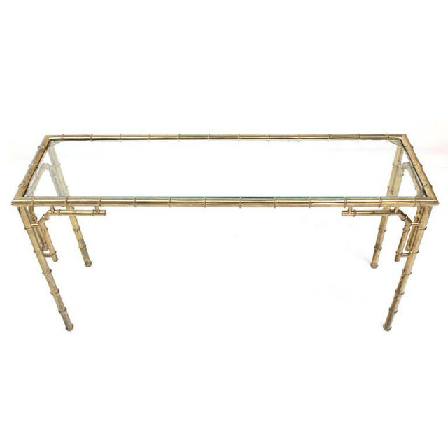 Mid 20th Century Vintage Mid Century Faux Bamboo Metal and Glass Console For Sale - Image 5 of 7