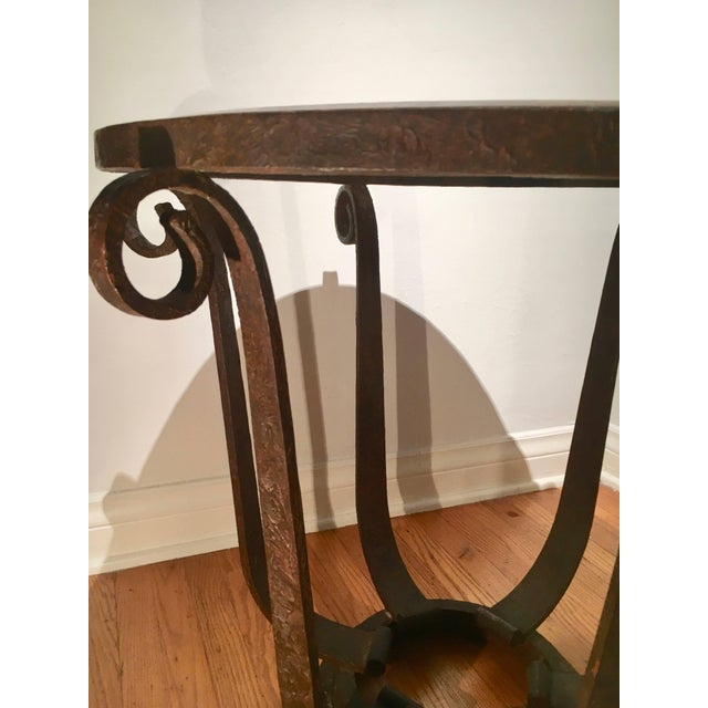 Art Deco After Raymond Subes Wrought Iron and Marble Table For Sale - Image 3 of 6