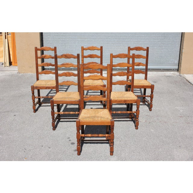 French 1910s Vintage French Country Rush Seat Solid Walnut Dining Chairs- Set of 6 For Sale - Image 3 of 13