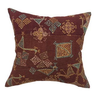 Antique Embroidered Indian Textile Pillow For Sale