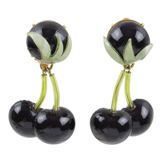 Francoise Montague Paris Clip on Earrings Resin Talosel Black Cherries For Sale