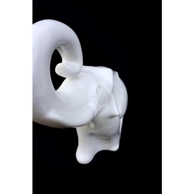 "Ceramic Large White Porcelain Elephant Statue || 17"" Modern Boho Chic Figural Ceramic Elephant Indoor/Outdoor Art For Sale - Image 7 of 12"