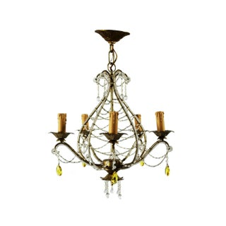 1940s French Chandelier With Clear & Yellow Beads For Sale