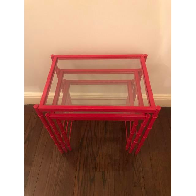 Red Lacqured Faux Bamboo Metal Nesting Tables - Set of 3 - Image 6 of 7