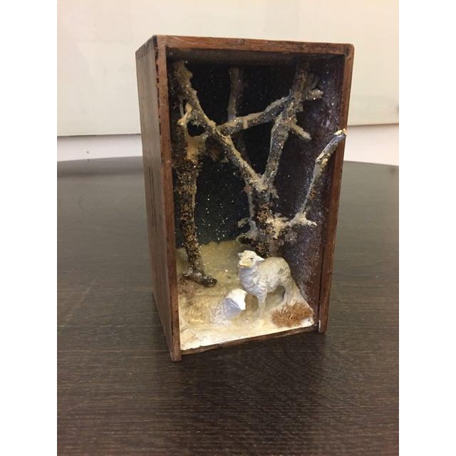 2000s Folk Art Hand Made Sheep Winter Diorama Box For Sale - Image 5 of 7