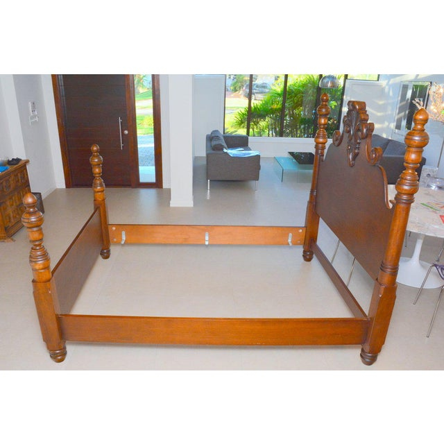 Ralph Lauren Four Poster Carved Wood Queen Size Bed Frame - Image 6 of 9