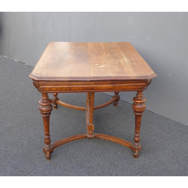 1930s Antique Spanish Style Library Table Desk W Stretcher Mission Style For Sale - Image 5 of 13