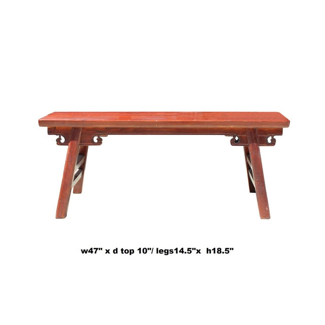 Brown Chinese Oriental Distressed Brown Stain Long Wood Bench Stool For Sale - Image 8 of 8