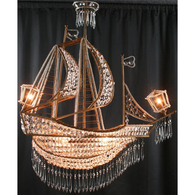 2010s New Large Sailing Ship Crystal Chandelier For Sale - Image 5 of 12