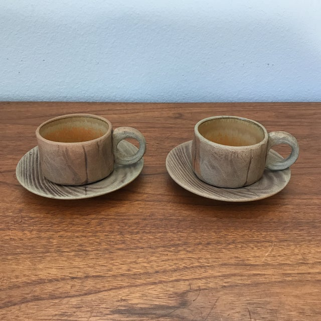 Vintage Pottery Mugs With Saucers - Set of 4 For Sale - Image 11 of 11