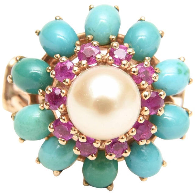 Ruby, Pearl, Turquoise and 14 Karat Yellow Gold Dome Cocktail Ring For Sale