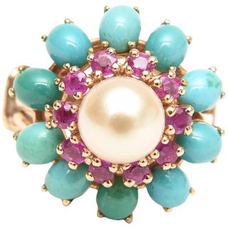 Ruby, Pearl, Turquoise and 14 Karat Yellow Gold Dome Cocktail Ring FInal For Sale