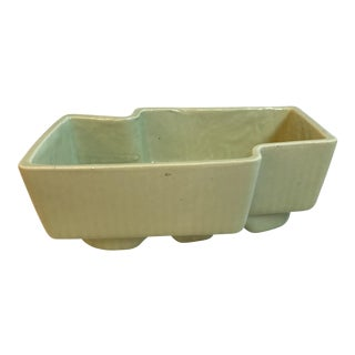 Vintage Mint Green Ceramic Geometric Planter For Sale
