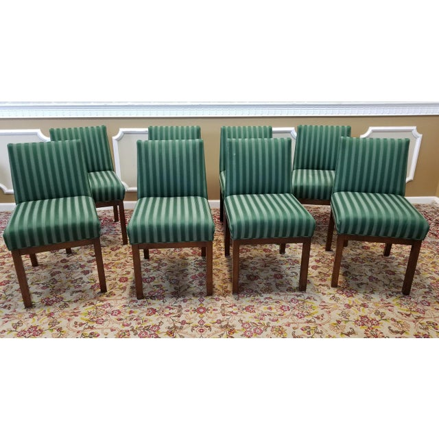 1970s Directional Contract Furniture Green Striped Upholstered Dining Room Chairs - Set of 8 - Image 2 of 11