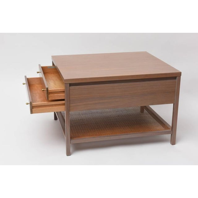Wicker Paul McCobb Greige Walnut Side Table for Calvin For Sale - Image 7 of 10