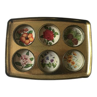 Mid Century Tin Drink Tray With Vintage Florals For Sale