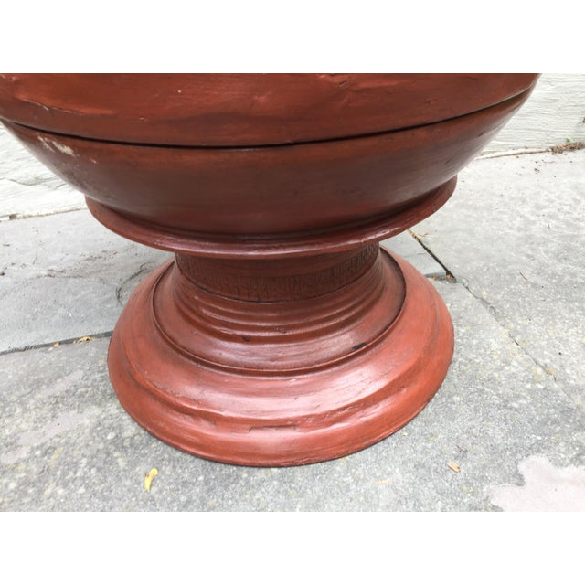 Asian Asian Sculptural Burmese Terra Cotta Colored Wood Offering Urn For Sale - Image 3 of 8