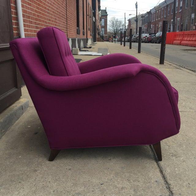 Mid Century Modern Raspberry Linen Armchair - Image 5 of 6