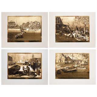 American Classical Gold-Etch Prints, Set of 4 For Sale
