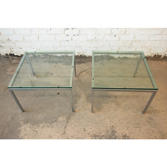 Florence Knoll Chrome & Glass Side Tables - a Pair For Sale - Image 5 of 7