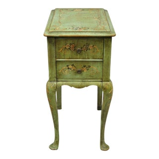 Antique French Adams Style Green Floral Nightstand For Sale
