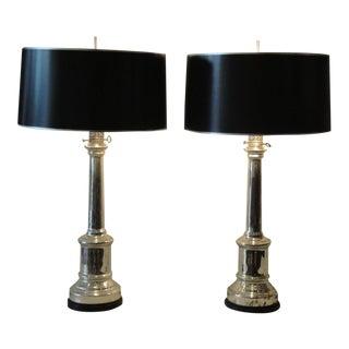Antique Mercury Glass Empire Style Lamps by Warren Kessler - a Pair For Sale