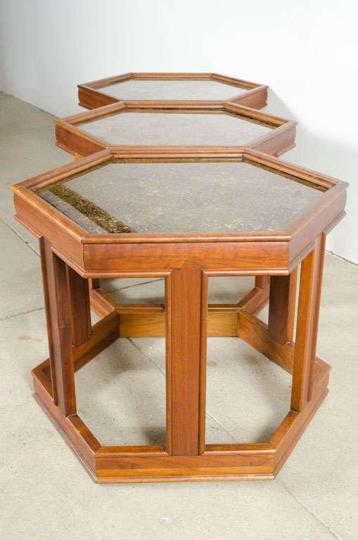 John Keal Hexagonal Copper Topped End Tables   Set Of 3   Image 6 Of 10