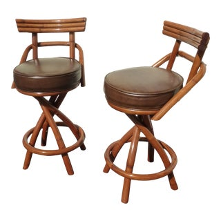 Vintage 1960s Tiki Bar Stools - A Pair For Sale