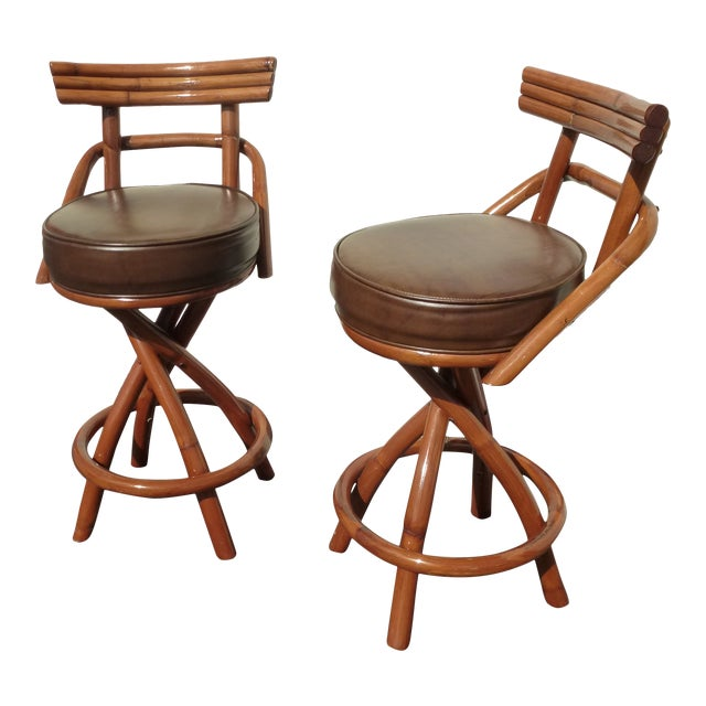 Sensational Vintage 1960S Tiki Bar Stools A Pair Gmtry Best Dining Table And Chair Ideas Images Gmtryco