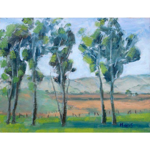 This is a contemporary oil on primed masonite board painting in a handmade frame. I painted this plein air (on location)...
