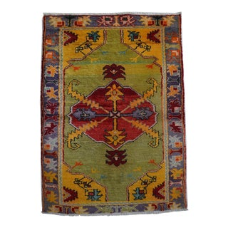 Spectacular! Vintage Ushak Rug Full Tribal Design Area Rug - 3'1'' X 4'3'' For Sale