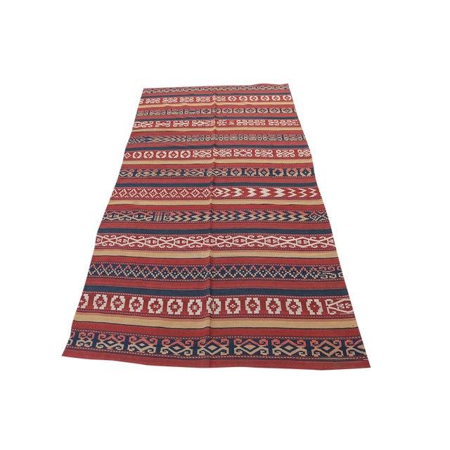 """Vintage Afghan Tribal Striped Flat-Weave Wool Rug - 4'7"""" X 9'5"""" - Image 1 of 4"""