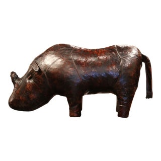 Early 20th Century English Footstool Rhino Sculpture With Original Brown Leather For Sale