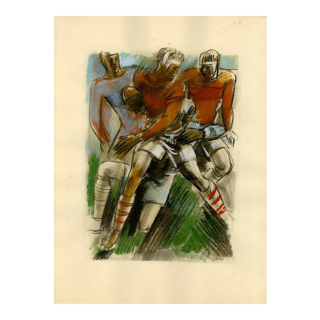 """""""Le Rugby"""" (Rugby). Original Sports Print From Croatian Artist Milivoj Uzelac. For Sale"""