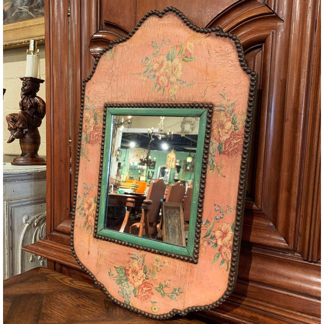 Early 20th Century French Napoleon III Hand Painted Wall Mirror For Sale In Dallas - Image 6 of 9