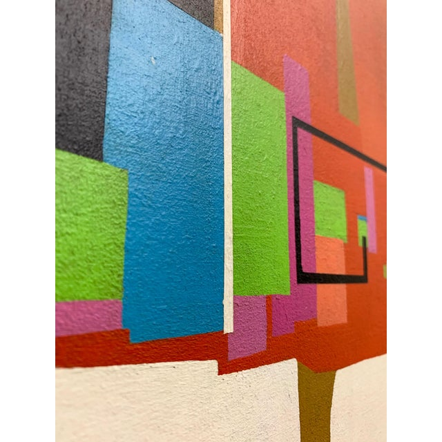 Green Modernist Geometric Painting, 1971 For Sale - Image 8 of 13