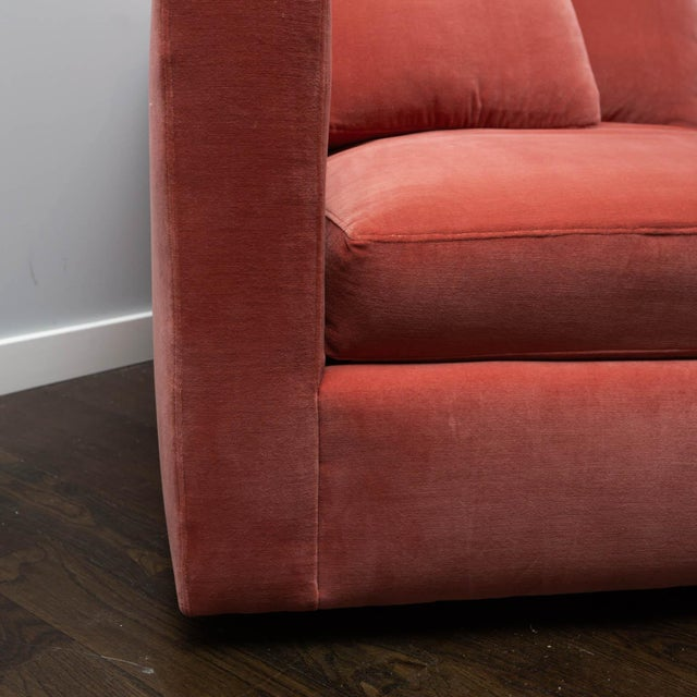 Large Tuxedo Arm Swivel Club Chair in Salmon Ultra Suede For Sale In New York - Image 6 of 9