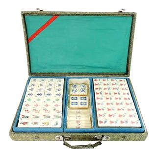 Vintage Chinese Bamboo Mahjong Game Set in Brocade Fabric Carrying Case For Sale