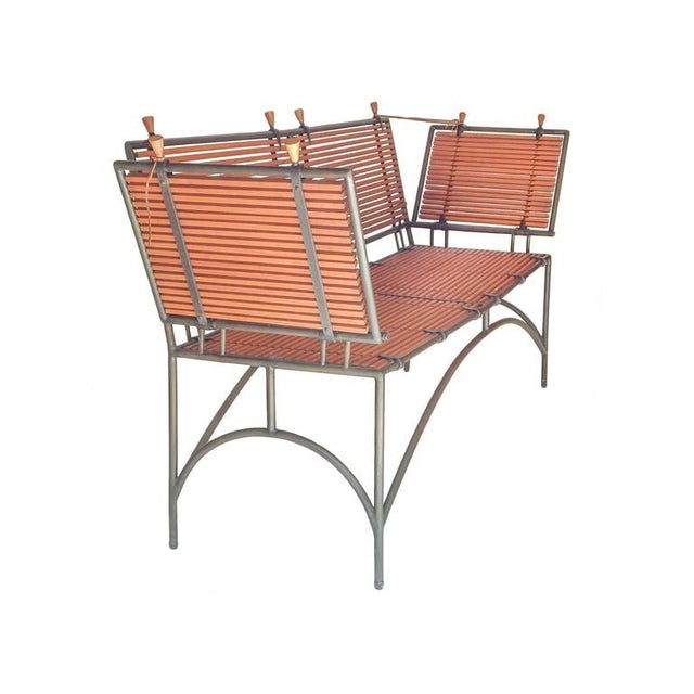 Boho Chic Iron Framed Reeded Knole Style Bench or Settee For Sale - Image 3 of 9