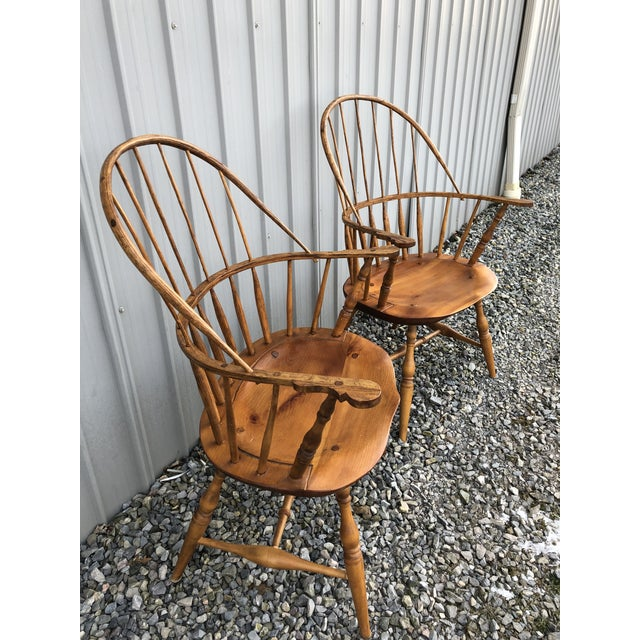2000 - 2009 Modern Bench Made Hoop Back Windsor Armchairs- A Pair For Sale - Image 5 of 11