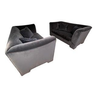 Custom Made Charcoal Velvet Sofas - a Pair For Sale